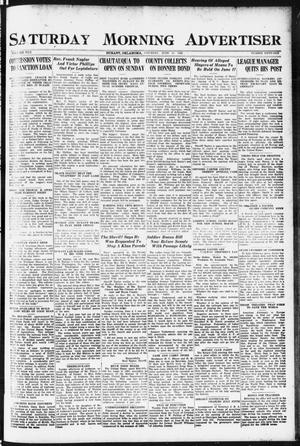 Primary view of object titled 'Saturday Morning Advertiser (Durant, Okla.), Vol. 8, No. 51, Ed. 1, Saturday, June 10, 1922'.