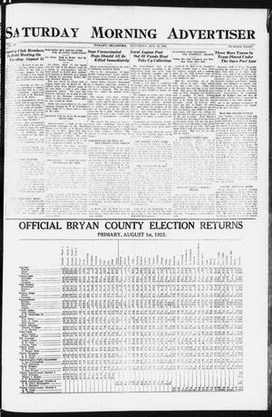 Primary view of object titled 'Saturday Morning Advertiser (Durant, Okla.), Vol. 9, No. 8, Ed. 1, Saturday, August 12, 1922'.
