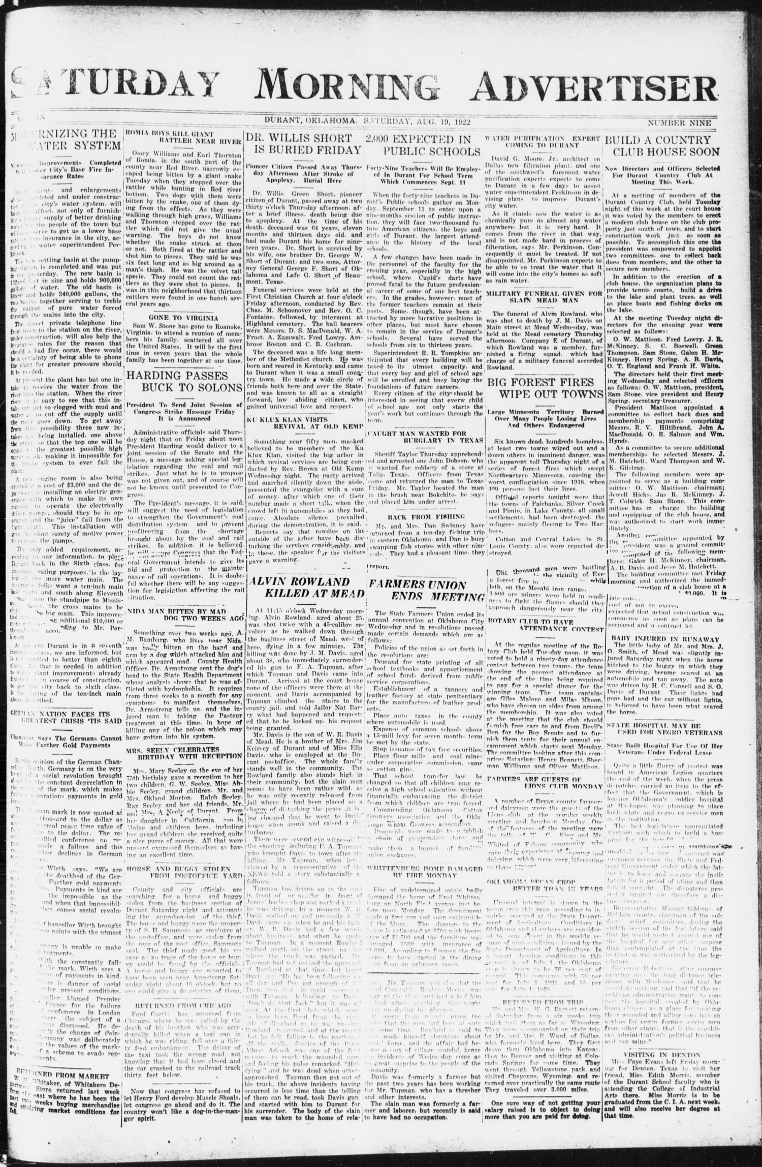Saturday Morning Advertiser (Durant, Okla.), Vol. 9, No. 9, Ed. 1, Saturday, August 19, 1922                                                                                                      [Sequence #]: 1 of 4