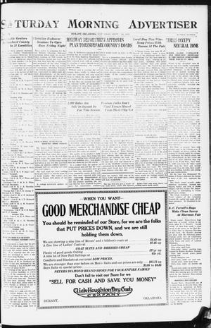 Primary view of object titled 'Saturday Morning Advertiser (Durant, Okla.), Vol. 9, No. 15, Ed. 1, Saturday, September 30, 1922'.