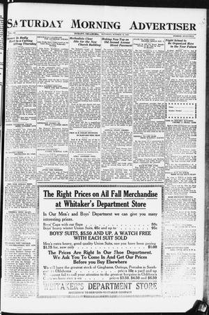 Primary view of object titled 'Saturday Morning Advertiser (Durant, Okla.), Vol. 9, No. 17, Ed. 1, Saturday, October 14, 1922'.