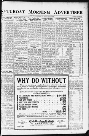 Primary view of object titled 'Saturday Morning Advertiser (Durant, Okla.), Vol. 9, No. 21, Ed. 1, Saturday, November 11, 1922'.