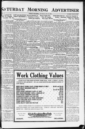 Primary view of object titled 'Saturday Morning Advertiser (Durant, Okla.), Vol. 9, No. 22, Ed. 1, Saturday, November 18, 1922'.