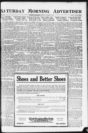 Primary view of object titled 'Saturday Morning Advertiser (Durant, Okla.), Vol. 9, No. 23, Ed. 1, Saturday, November 25, 1922'.