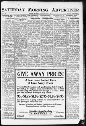 Primary view of object titled 'Saturday Morning Advertiser (Durant, Okla.), Vol. 9, No. 25, Ed. 1, Saturday, December 9, 1922'.