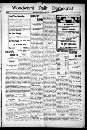 Primary view of object titled 'Woodward Daily Democrat (Woodward, Okla.), Vol. 2, No. 191, Ed. 1 Saturday, April 16, 1910'.