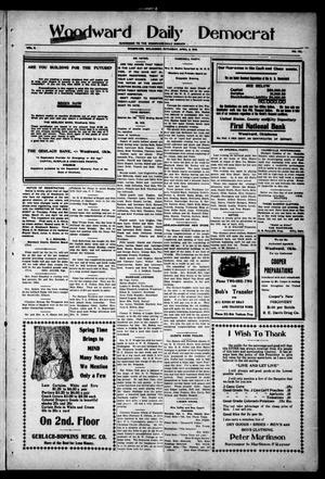 Primary view of object titled 'Woodward Daily Democrat (Woodward, Okla.), Vol. 2, No. 179, Ed. 1 Saturday, April 2, 1910'.