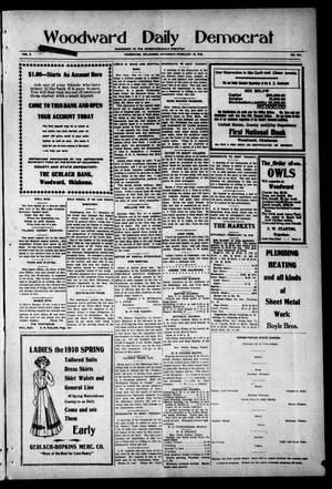 Primary view of object titled 'Woodward Daily Democrat (Woodward, Okla.), Vol. 2, No. 144, Ed. 1 Saturday, February 19, 1910'.
