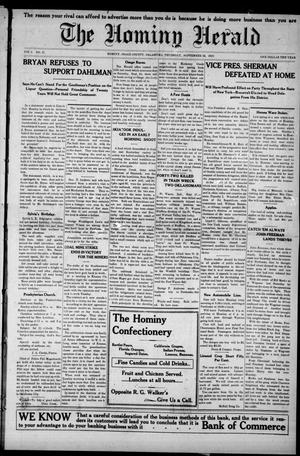 Primary view of object titled 'The Hominy Herald (Hominy, Okla.), Vol. 9, No. 47, Ed. 1 Thursday, September 22, 1910'.