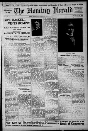 Primary view of object titled 'The Hominy Herald (Hominy, Okla.), Vol. 9, No. 51, Ed. 1 Thursday, October 20, 1910'.