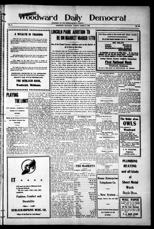 Primary view of object titled 'Woodward Daily Democrat (Woodward, Okla.), Vol. 2, No. 157, Ed. 1 Tuesday, March 8, 1910'.