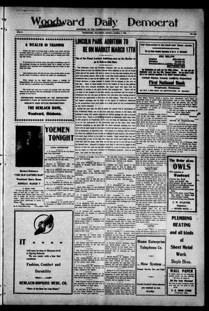 Primary view of object titled 'Woodward Daily Democrat (Woodward, Okla.), Vol. 2, No. 156, Ed. 1 Monday, March 7, 1910'.