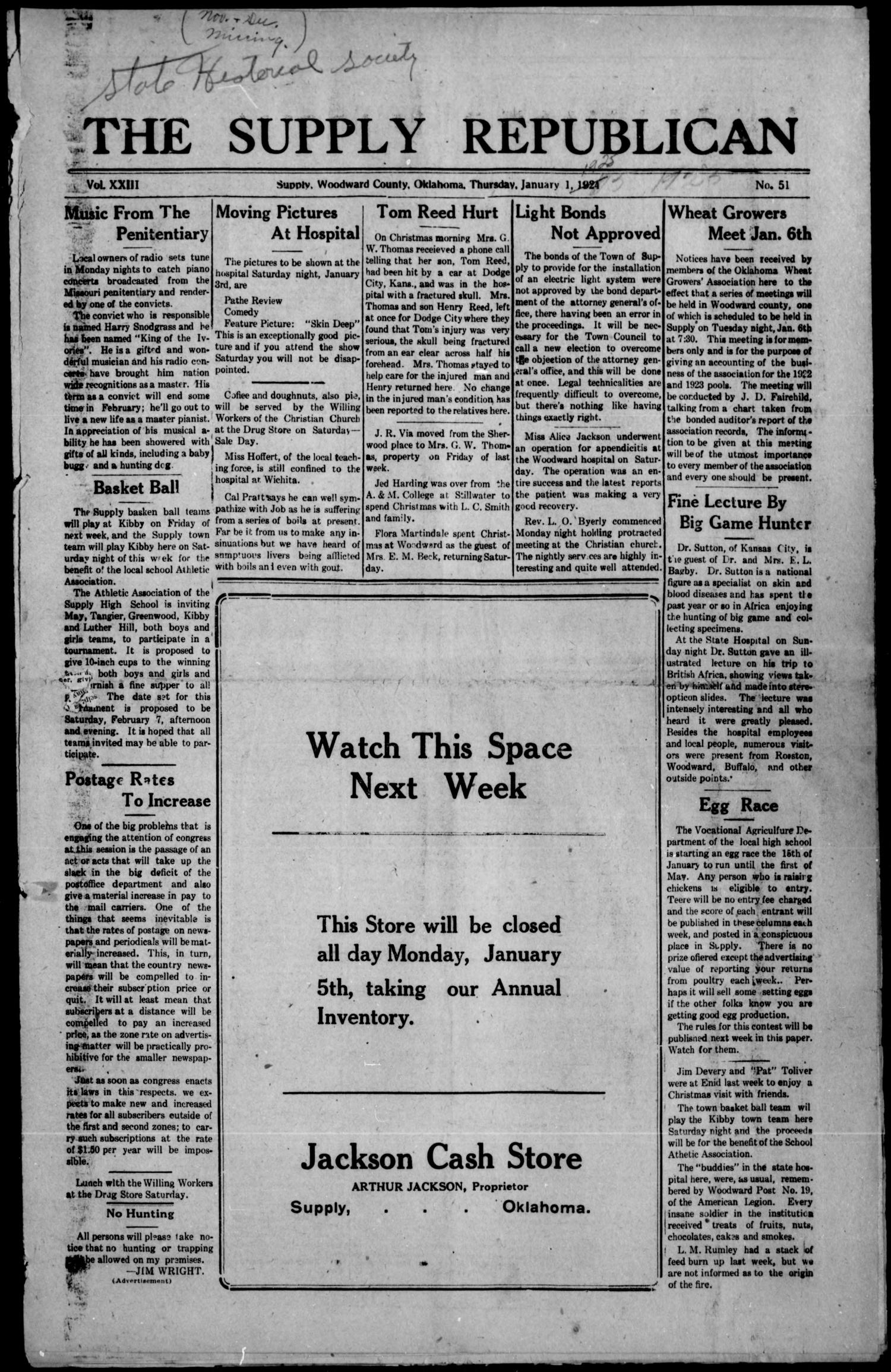 The Supply Republican (Supply, Okla.), Vol. 23, No. 51, Ed. 1 Thursday, January 1, 1925                                                                                                      [Sequence #]: 1 of 8