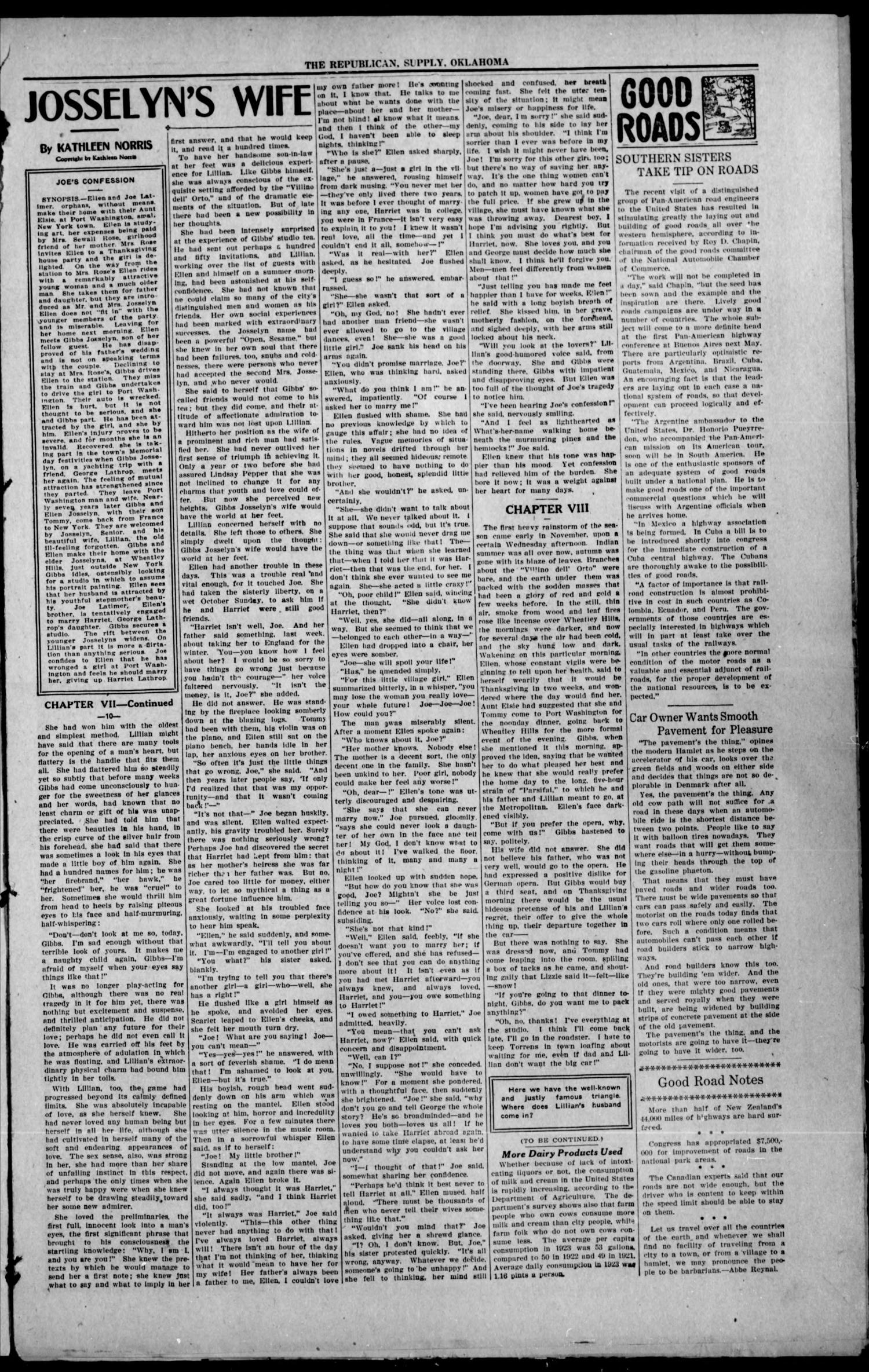 The Supply Republican (Supply, Okla.), Vol. 23, No. 51, Ed. 1 Thursday, January 1, 1925                                                                                                      [Sequence #]: 3 of 8