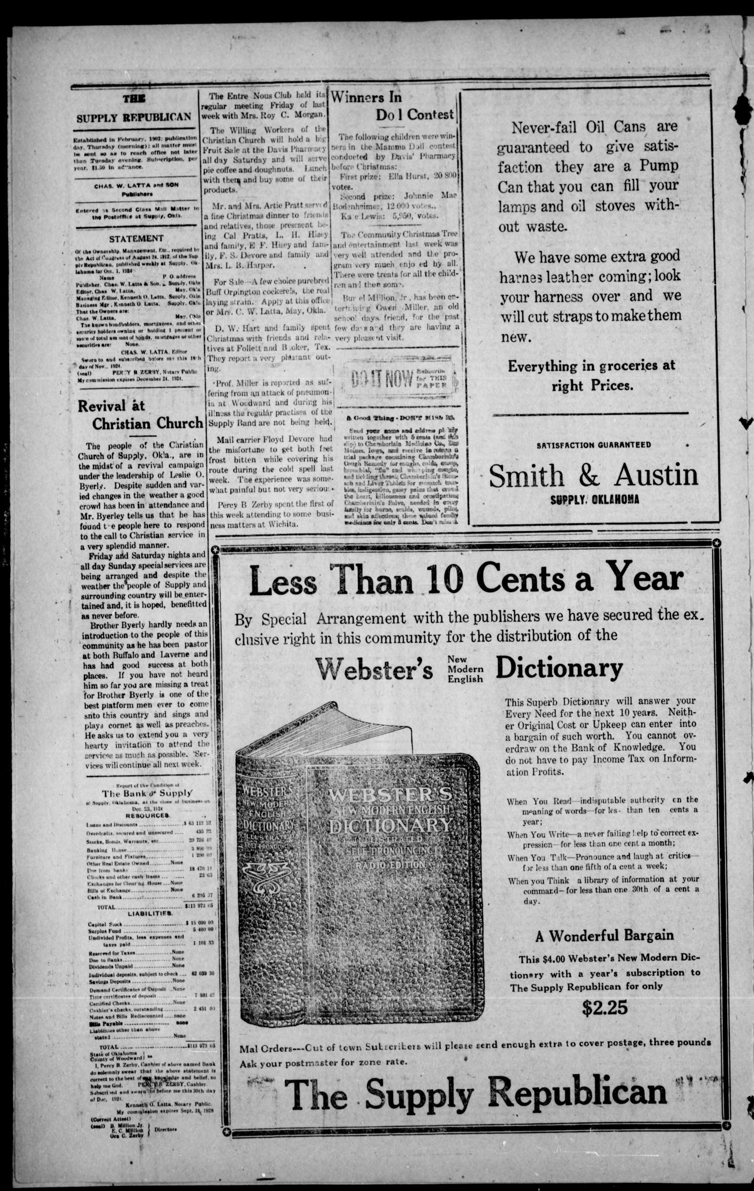 The Supply Republican (Supply, Okla.), Vol. 23, No. 51, Ed. 1 Thursday, January 1, 1925                                                                                                      [Sequence #]: 4 of 8