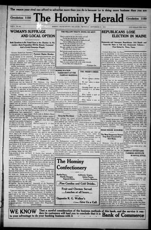 Primary view of object titled 'The Hominy Herald (Hominy, Okla.), Vol. 9, No. 46, Ed. 1 Thursday, September 15, 1910'.