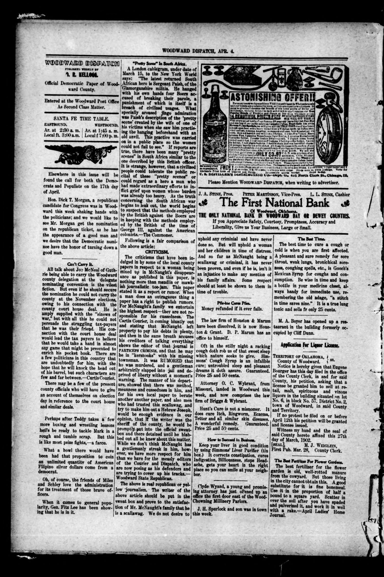 Woodward Dispatch. (Woodward, Okla.), Vol. 3, No. 6, Ed. 1 Friday, April 4, 1902                                                                                                      [Sequence #]: 2 of 4