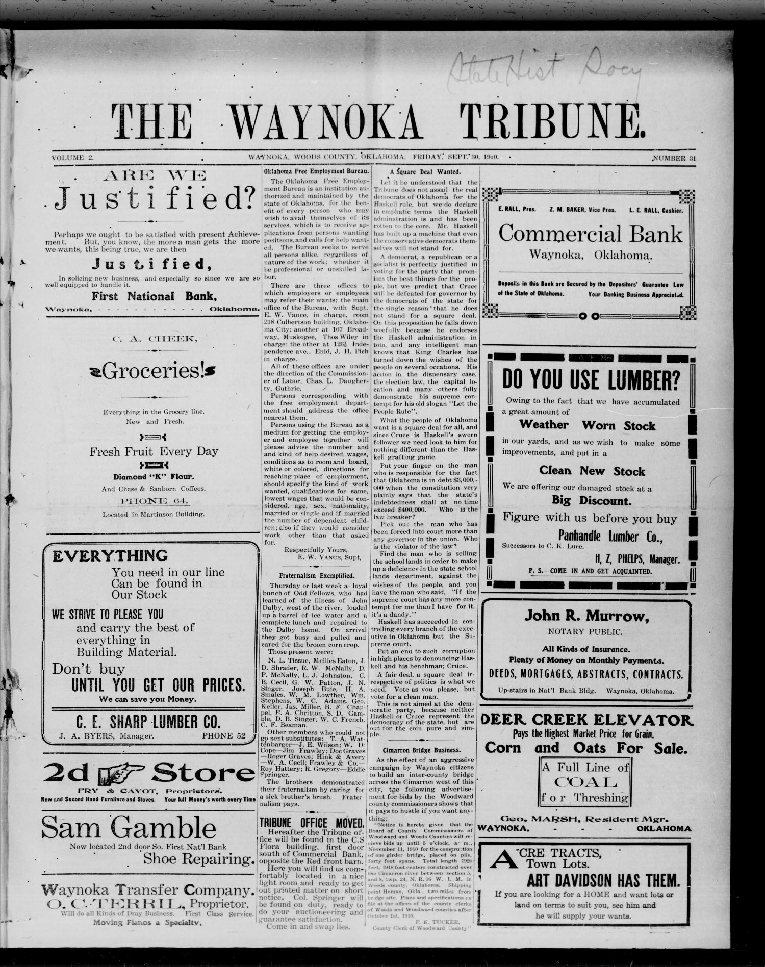 The Waynoka Tribune. (Waynoka, Okla.), Vol. 2, No. 31, Ed. 1 Friday, September 30, 1910                                                                                                      [Sequence #]: 1 of 8