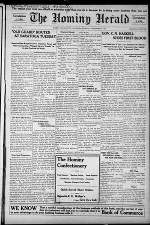 Primary view of object titled 'The Hominy Herald (Hominy, Okla.), Vol. 9, No. 48, Ed. 1 Thursday, September 29, 1910'.