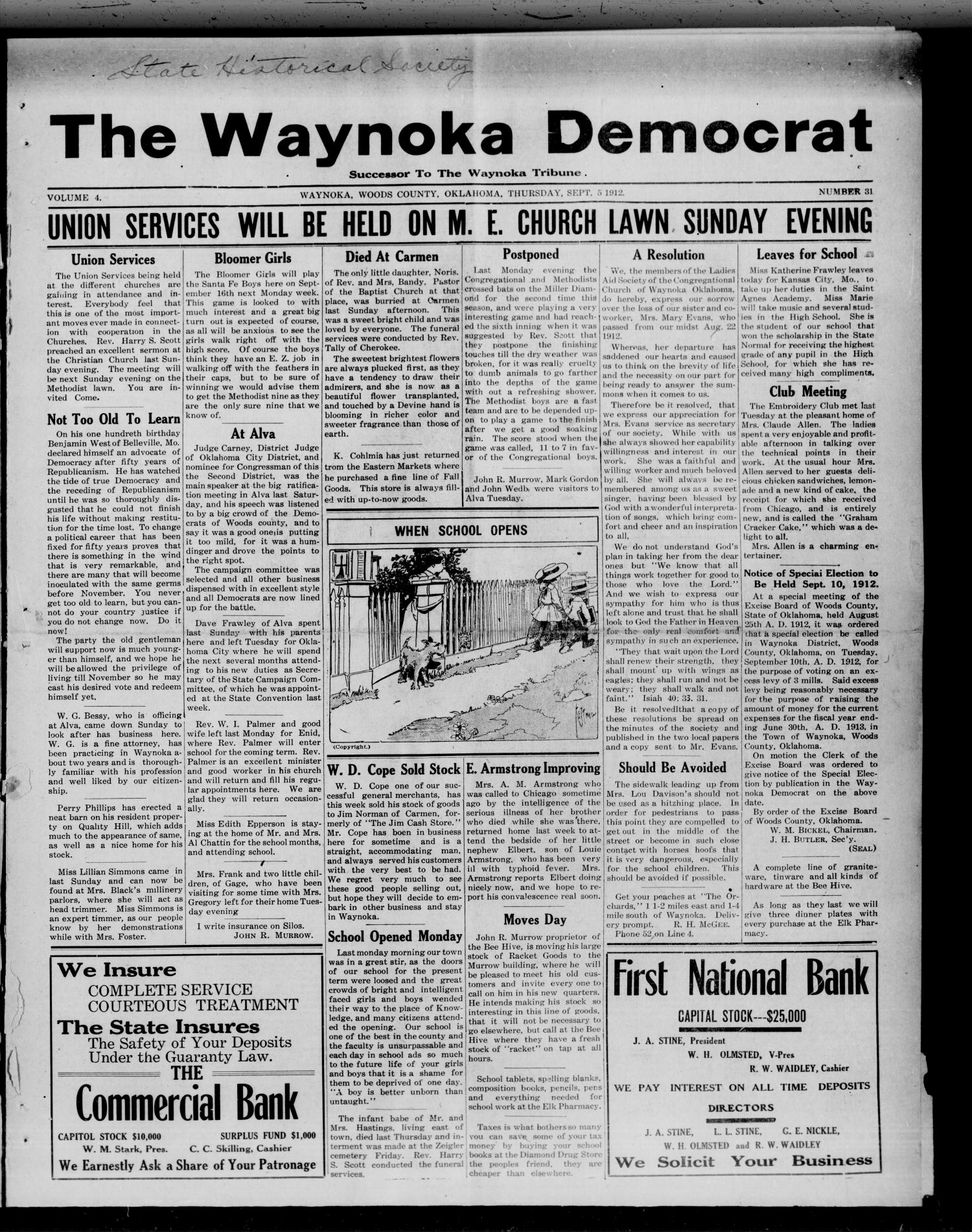 The Waynoka Democrat (Waynoka, Okla.), Vol. 4, No. 31, Ed. 1 Thursday, September 5, 1912                                                                                                      [Sequence #]: 1 of 8