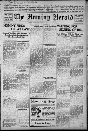 Primary view of object titled 'The Hominy Herald (Hominy, Okla.), Vol. 10, No. 9, Ed. 1 Thursday, December 22, 1910'.