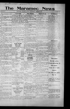 Primary view of object titled 'The Maramec News (Maramec, Okla.), Vol. 3, No. 2, Ed. 1 Thursday, March 12, 1914'.