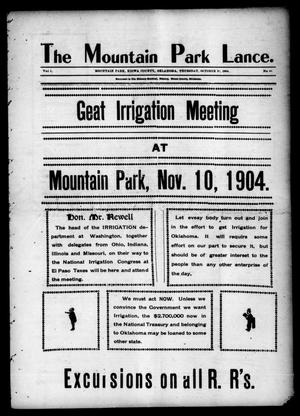 Primary view of object titled 'The Mountain Park Lance. (Mountain Park, Okla.), Vol. 1, No. 40, Ed. 1 Thursday, October 20, 1904'.