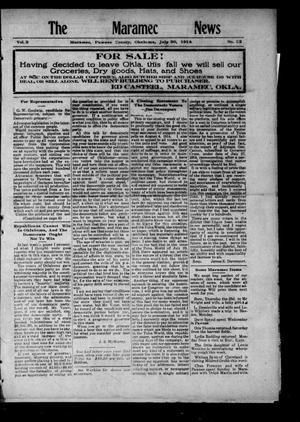 Primary view of The Maramec News (Maramec, Okla.), Vol. 3, No. 22, Ed. 1 Thursday, July 30, 1914