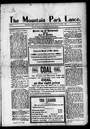 Primary view of The Mountain Park Lance. (Mountain Park, Okla.), Vol. 1, No. 46, Ed. 1 Thursday, December 1, 1904