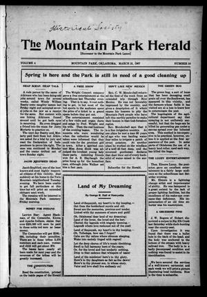 Primary view of object titled 'The Mountain Park Herald (Mountain Park, Okla.), Vol. 4, No. 10, Ed. 1 Thursday, March 21, 1907'.