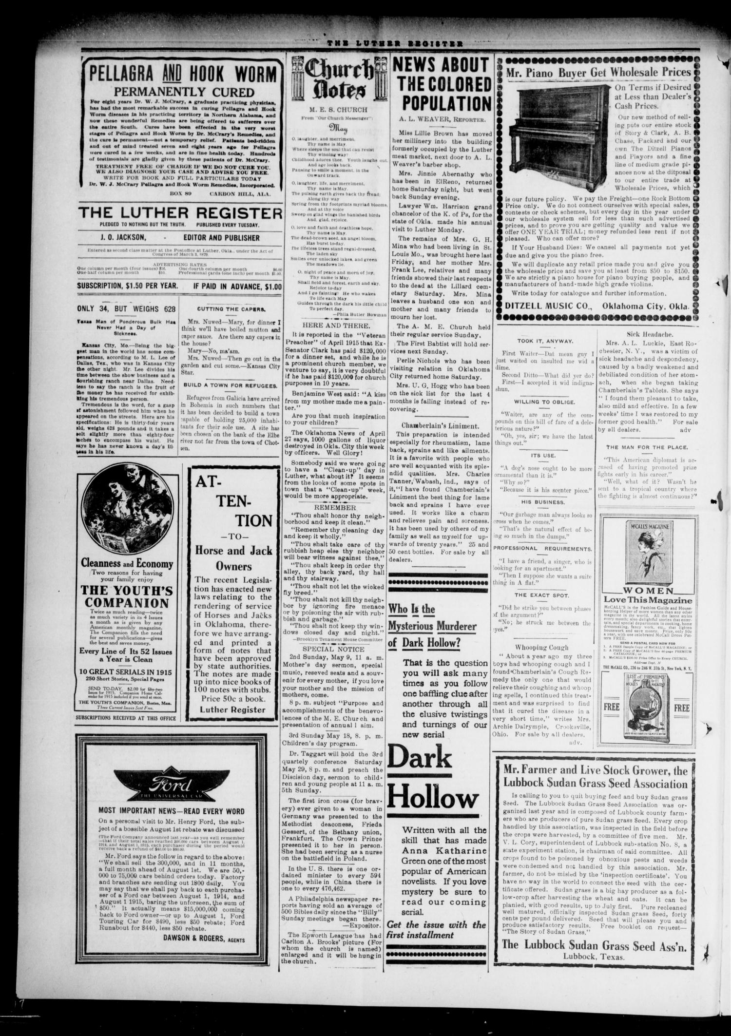 Luther Register. (Luther, Okla.), Vol. 16, No. 41, Ed. 1 Tuesday, May 4, 1915                                                                                                      [Sequence #]: 4 of 8