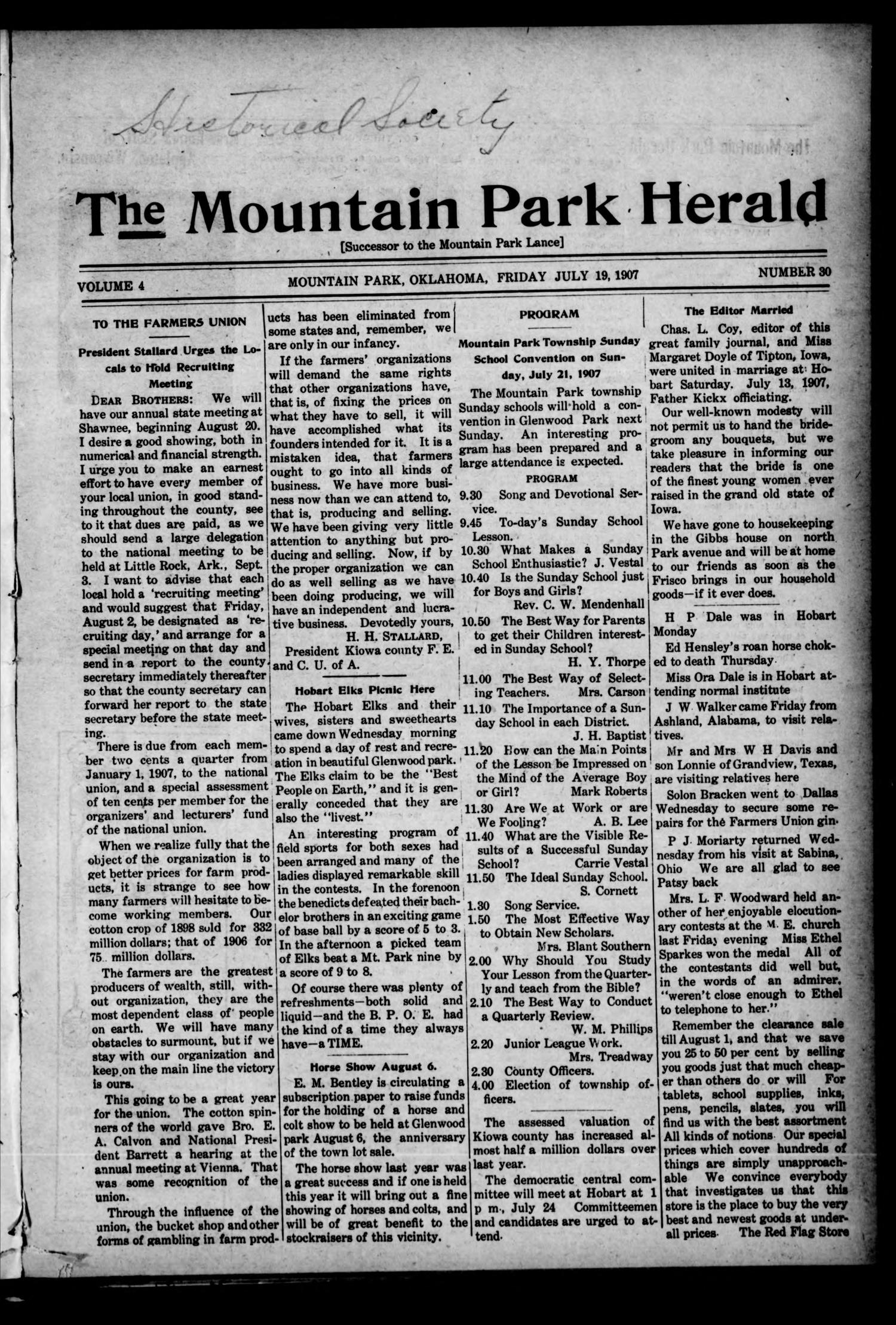 The Mountain Park Herald (Mountain Park, Okla.), Vol. 4, No. 30, Ed. 1 Friday, July 19, 1907                                                                                                      [Sequence #]: 1 of 8