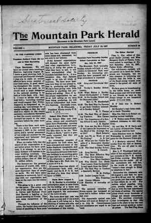 Primary view of object titled 'The Mountain Park Herald (Mountain Park, Okla.), Vol. 4, No. 30, Ed. 1 Friday, July 19, 1907'.