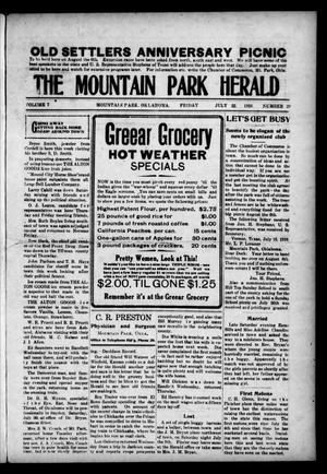 Primary view of object titled 'The Mountain Park Herald (Mountain Park, Okla.), Vol. 7, No. 29, Ed. 1 Friday, July 22, 1910'.