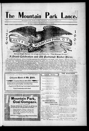 Primary view of object titled 'The Mountain Park Lance. (Mountain Park, Okla.), Vol. 2, No. 22, Ed. 1 Thursday, June 15, 1905'.