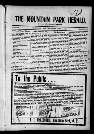 Primary view of object titled 'The Mountain Park Herald. (Mountain Park, Okla.), Vol. 3, No. 19, Ed. 1 Thursday, May 24, 1906'.