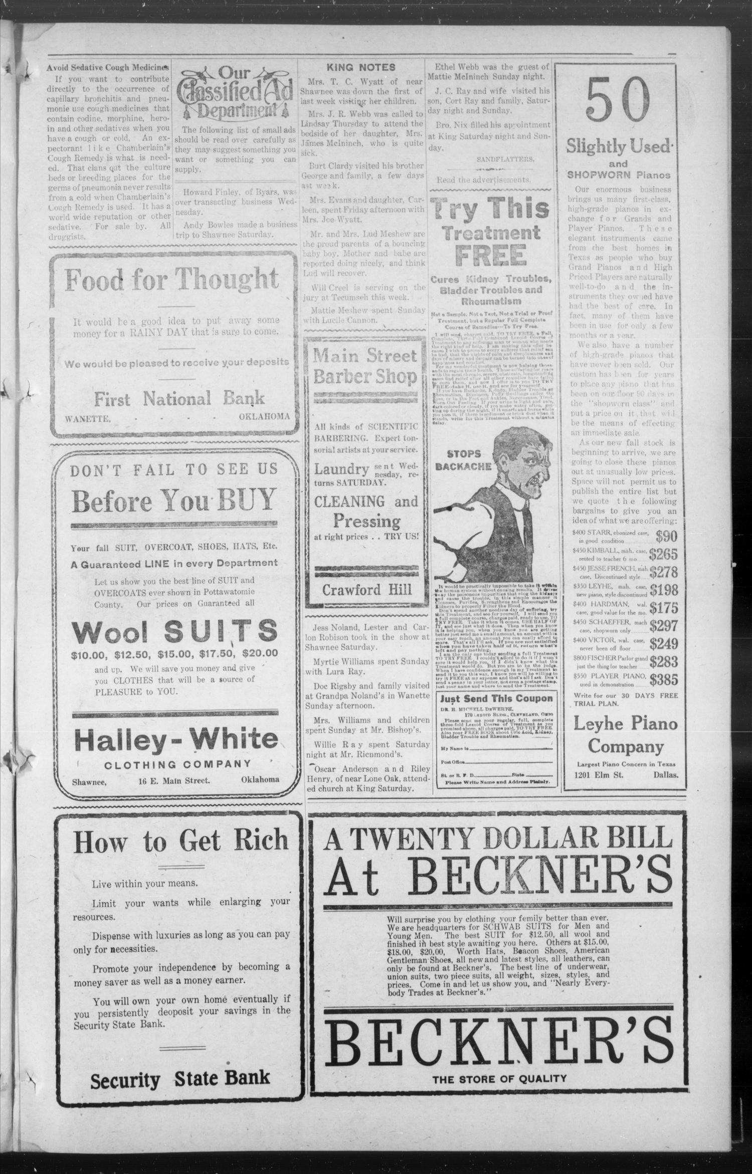 The Wanette Enterprise (Wanette, Okla.), Vol. 3, No. 22, Ed. 1 Friday, October 24, 1913                                                                                                      [Sequence #]: 3 of 8