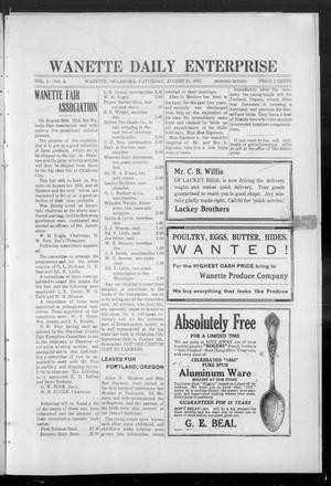 Primary view of object titled 'Wanette Daily Enterprise (Wanette, Okla.), Vol. 1, No. 4, Ed. 1 Thursday, August 31, 1911'.