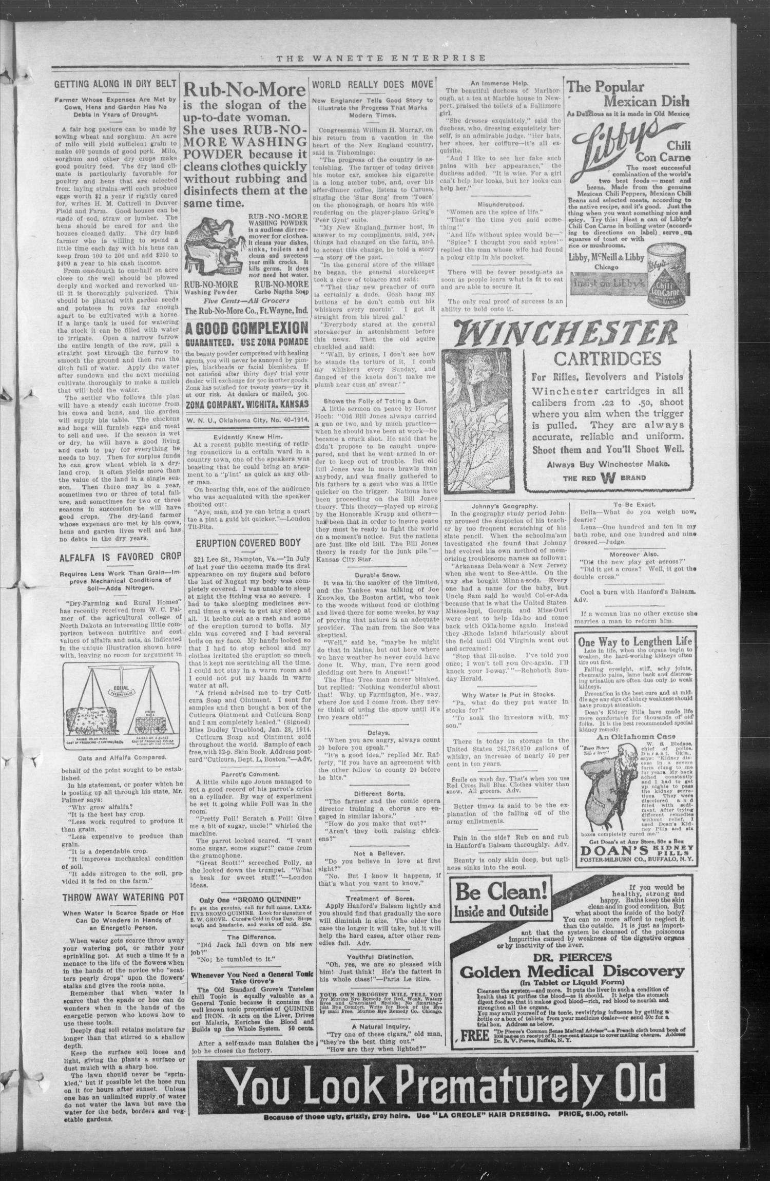 The Wanette Enterprise (Wanette, Okla.), Vol. 4, No. 32, Ed. 1 Friday, October 23, 1914                                                                                                      [Sequence #]: 3 of 4