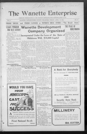 Primary view of object titled 'The Wanette Enterprise (Wanette, Okla.), Vol. 3, No. 47, Ed. 1 Friday, April 17, 1914'.