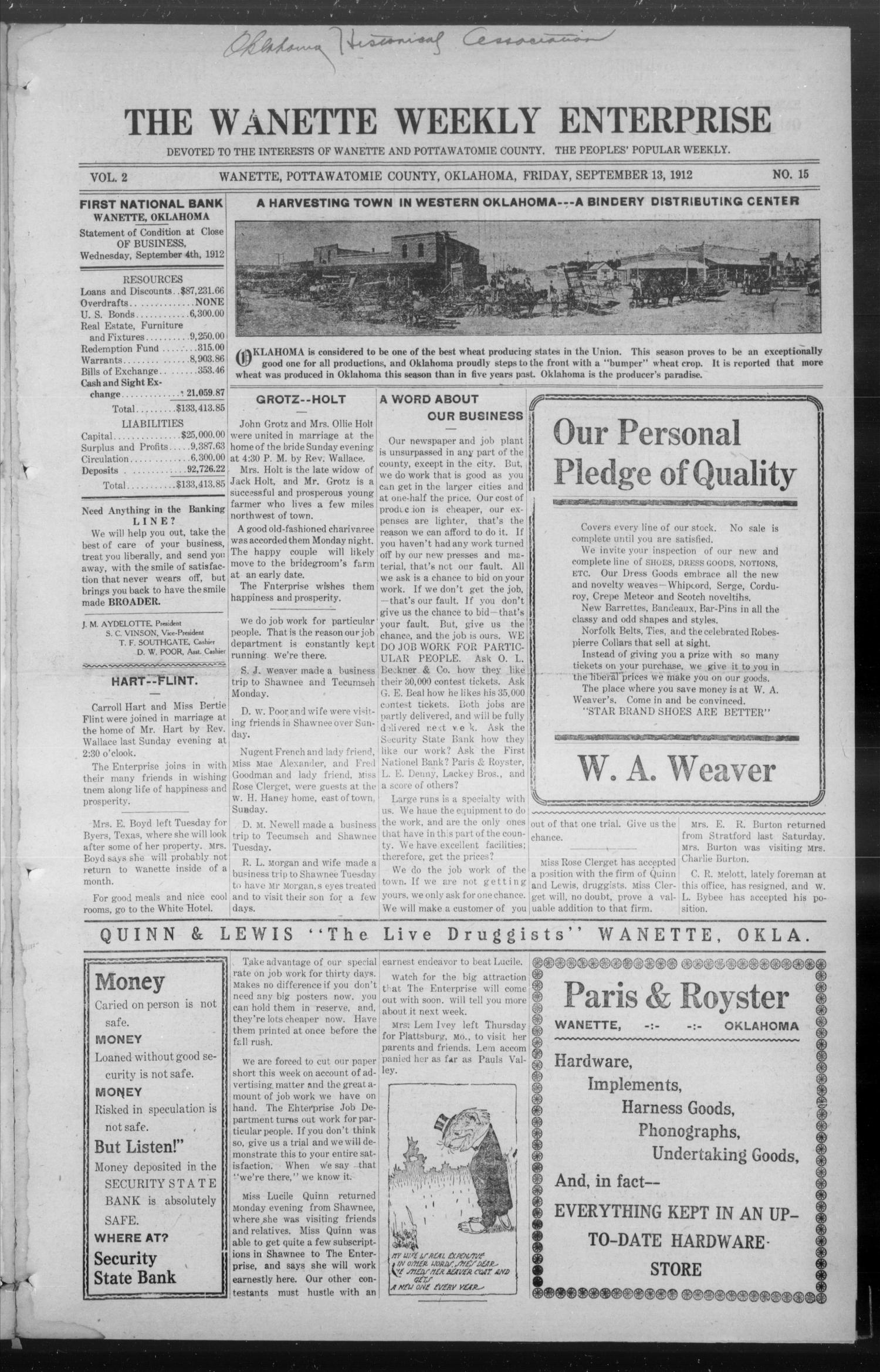 The Wanette Enterprise (Wanette, Okla.), Vol. 2, No. 15, Ed. 1 Friday, September 13, 1912                                                                                                      [Sequence #]: 3 of 16