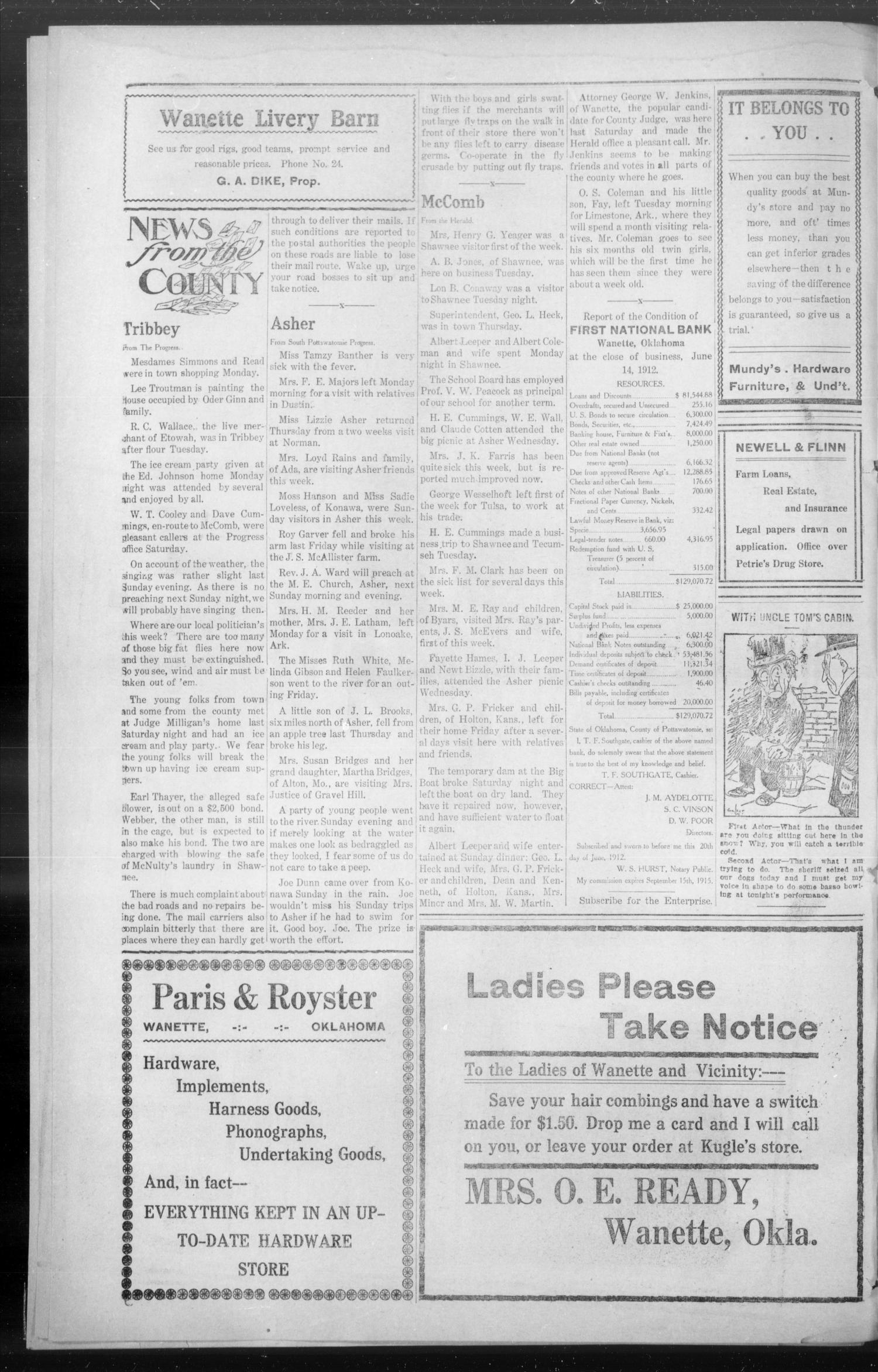 Wanette Enterprise (Wanette, Okla.), Vol. 2, No. 5, Ed. 1 Friday, July 5, 1912                                                                                                      [Sequence #]: 4 of 4