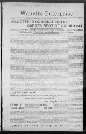 Primary view of Wanette Enterprise (Wanette, Okla.), Vol. 2, No. 5, Ed. 1 Friday, July 5, 1912