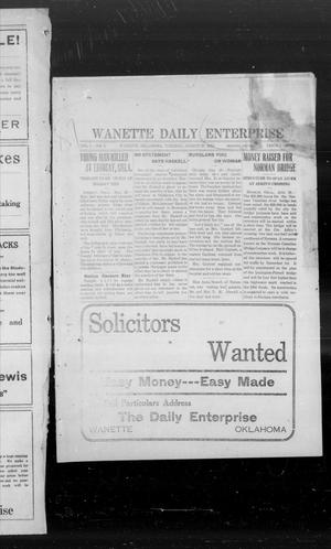 Primary view of object titled 'Wanette Daily Enterprise (Wanette, Okla.), Vol. 1, No. 1, Ed. 1 Sunday, August 27, 1911'.