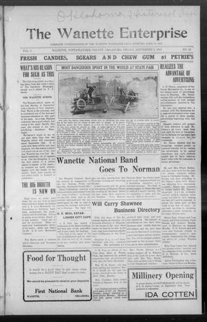 Primary view of object titled 'The Wanette Enterprise (Wanette, Okla.), Vol. 3, No. 15, Ed. 1 Friday, September 5, 1913'.