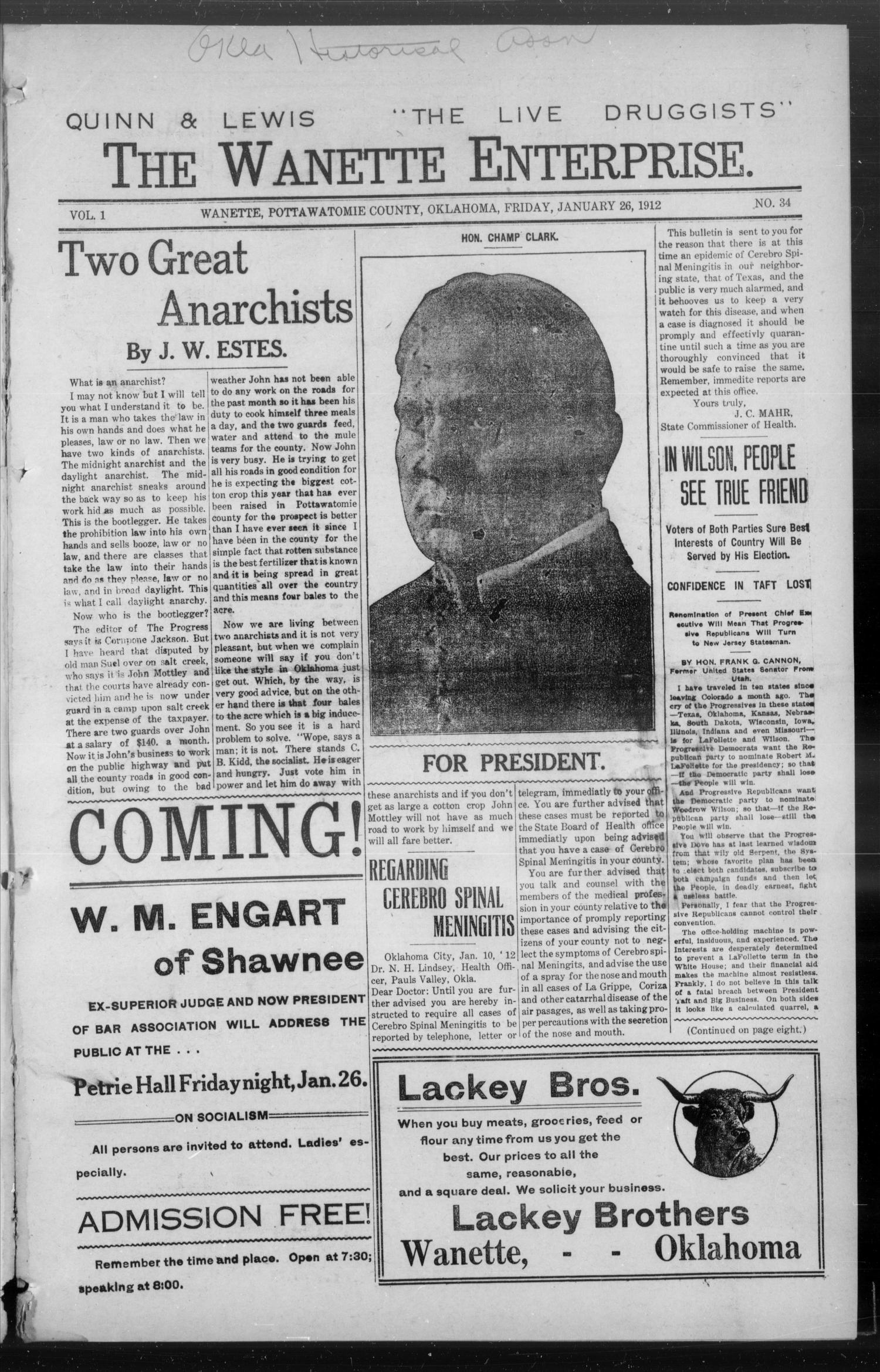 The Wanette Enterprise. (Wanette, Okla.), Vol. 1, No. 34, Ed. 1 Friday, January 26, 1912                                                                                                      [Sequence #]: 1 of 8