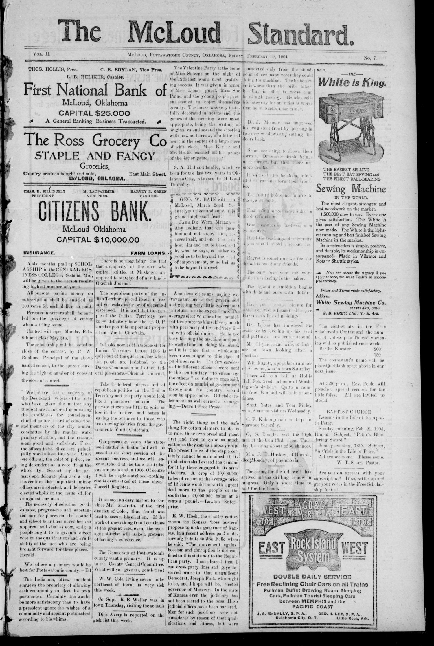 The McLoud Standard. (McLoud, Okla.), Vol. 2, No. 7, Ed. 1 Friday, February 19, 1904                                                                                                      [Sequence #]: 1 of 8
