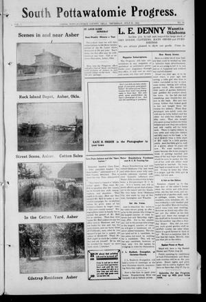 Primary view of object titled 'South Pottawatomie Progress. (Asher, Okla.), Vol. 2, No. 19, Ed. 1 Thursday, July 25, 1912'.