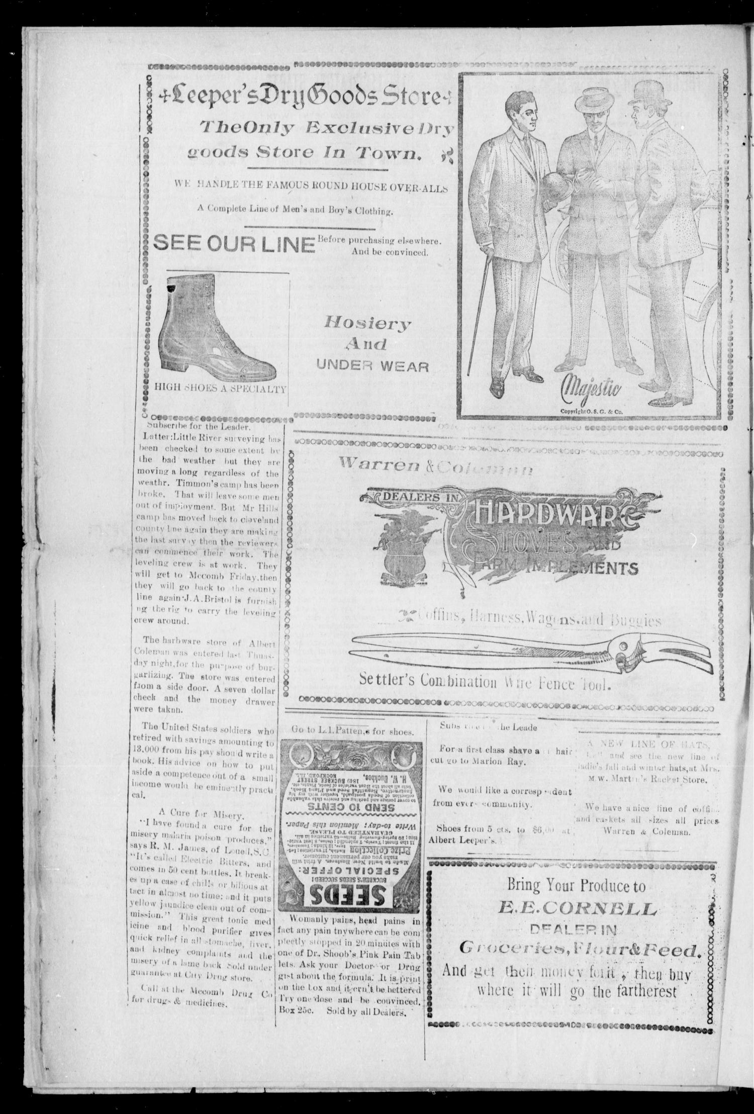 The McComb Leader. (McComb, Okla.), Vol. 1, No. 14, Ed. 1 Friday, January 15, 1909                                                                                                      [Sequence #]: 4 of 8