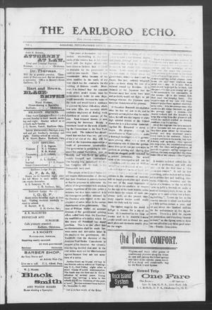 Primary view of object titled 'The Earlboro Echo. (Earlboro, Okla.), Vol. 1, No. 5, Ed. 1 Thursday, August 6, 1903'.